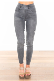 Spanx Vintage Grey Distressed Ankle Skinny Jeans - Product Mini Image
