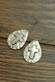 JChronicles Vintage-Hammered-Cross Crystal-Ab-Laid  Earrings - Product Mini Image