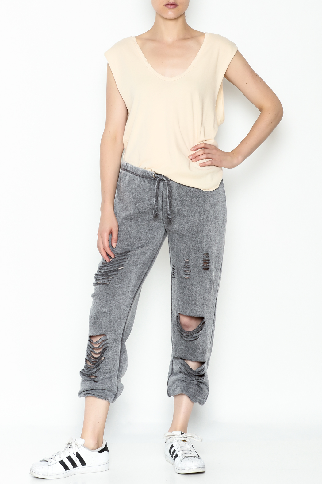 Vintage Havana Destroyed Sweatpant - Side Cropped Image