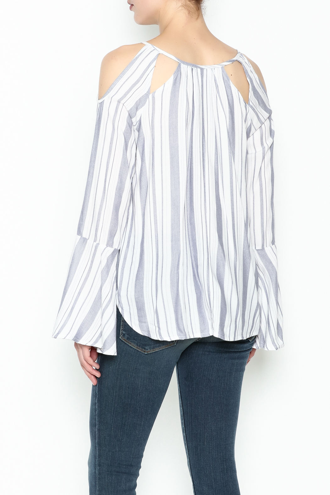 Vintage Havana Mykonos Stripe Top - Back Cropped Image