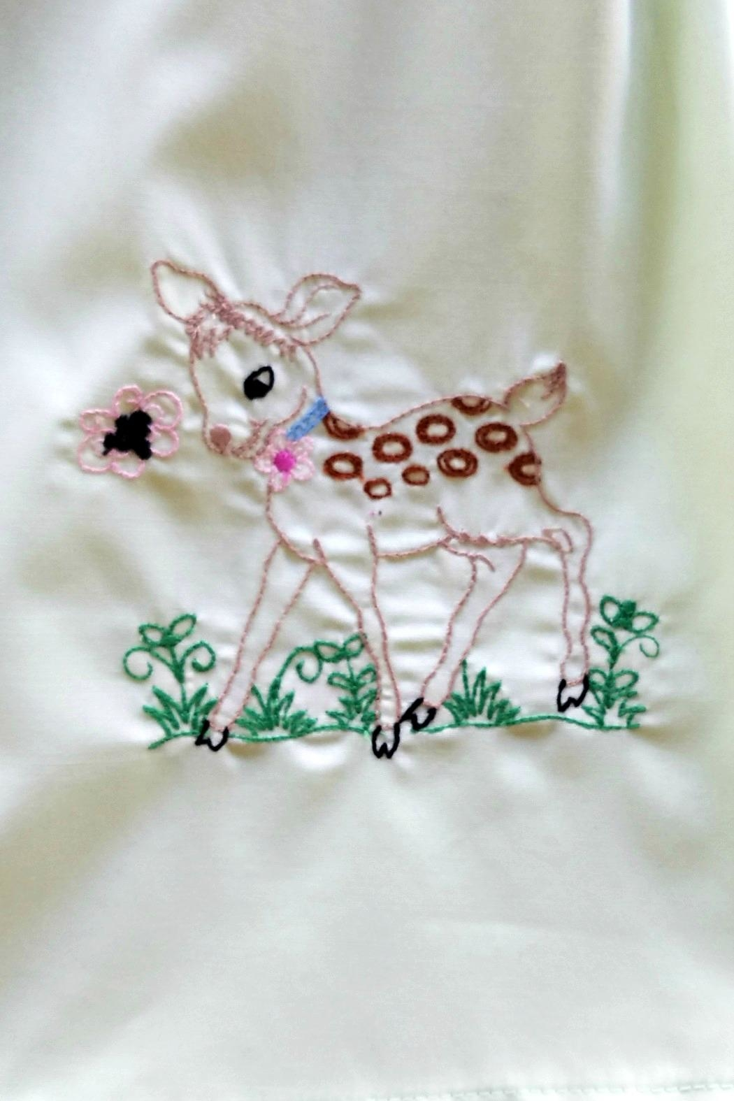 La Jenns Vintage-Inspired-Baby-Deer-Embroidery Dress - Side Cropped Image
