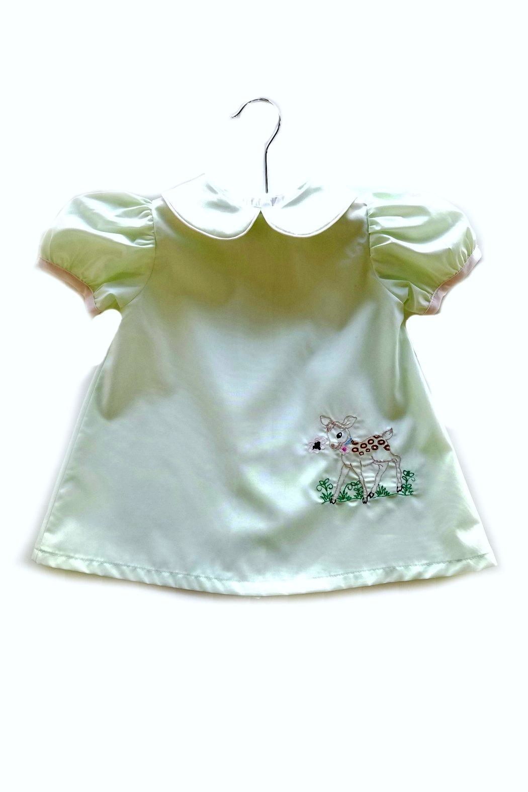 La Jenns Vintage-Inspired-Baby-Deer-Embroidery Dress - Front Cropped Image