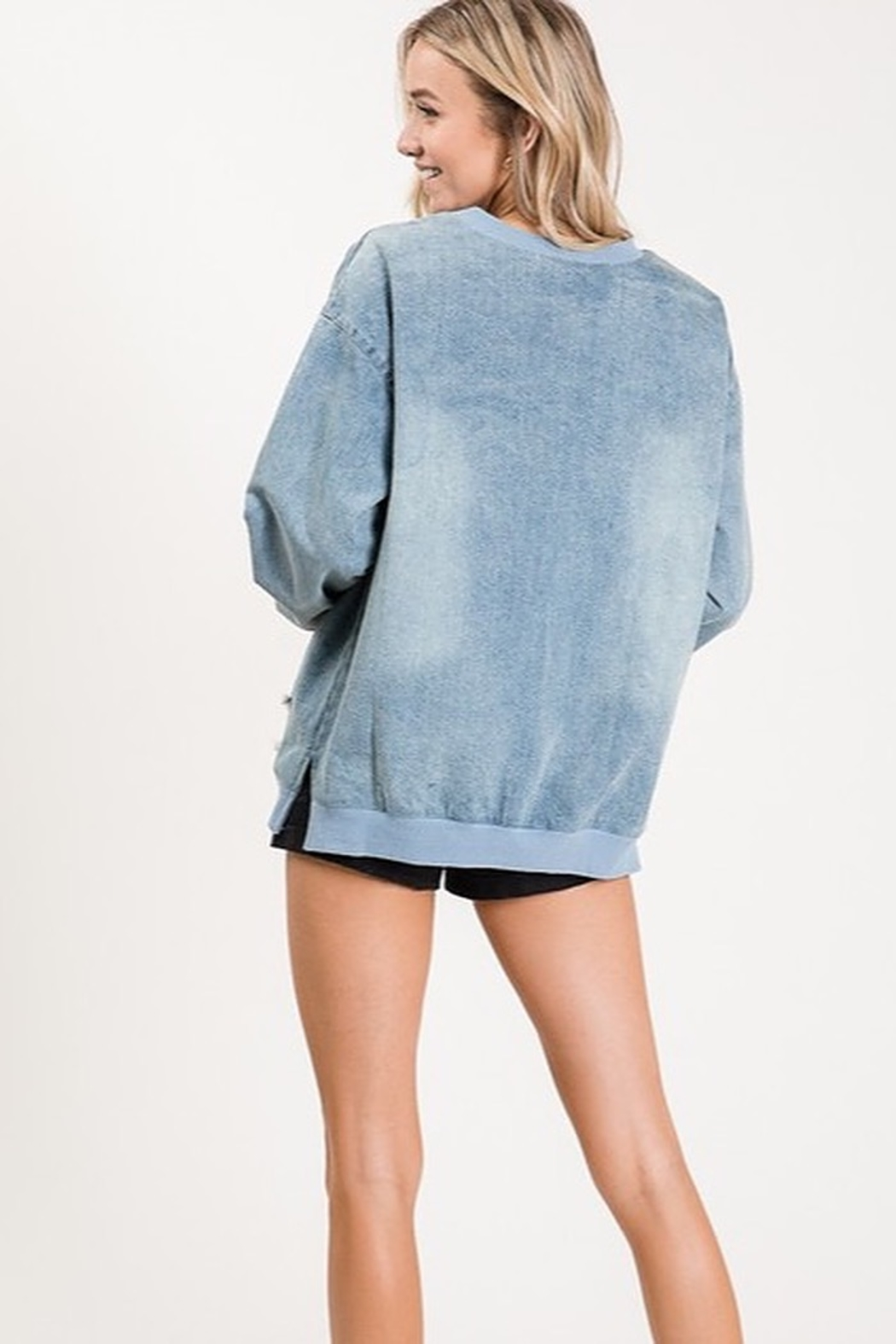 Macaron VINTAGE LOOKING DENIM PULL OVER TOP - Front Full Image