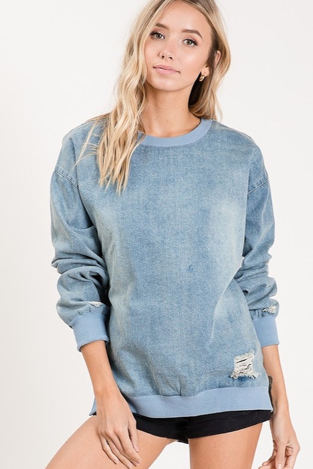 Macaron VINTAGE LOOKING DENIM PULL OVER TOP - Main Image