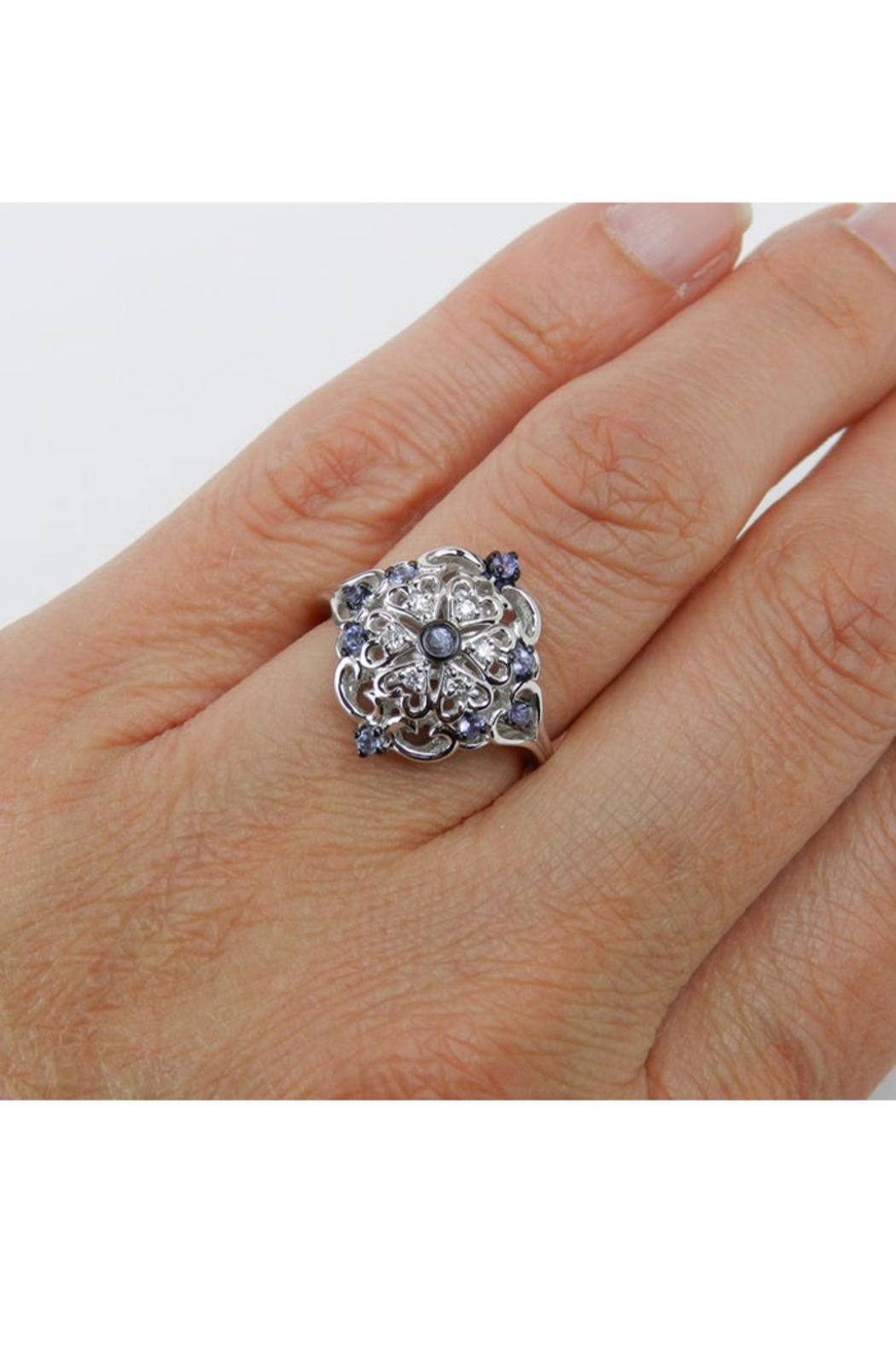 Margolin & Co Vintage Reproduction Style White Gold Diamond and Tanzanite Cocktail Cluster Ring Size 6.75 FREE Sizing - Back Cropped Image