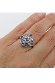 Margolin & Co Vintage Reproduction Style White Gold Diamond and Tanzanite Cocktail Cluster Ring Size 6.75 FREE Sizing - Back cropped