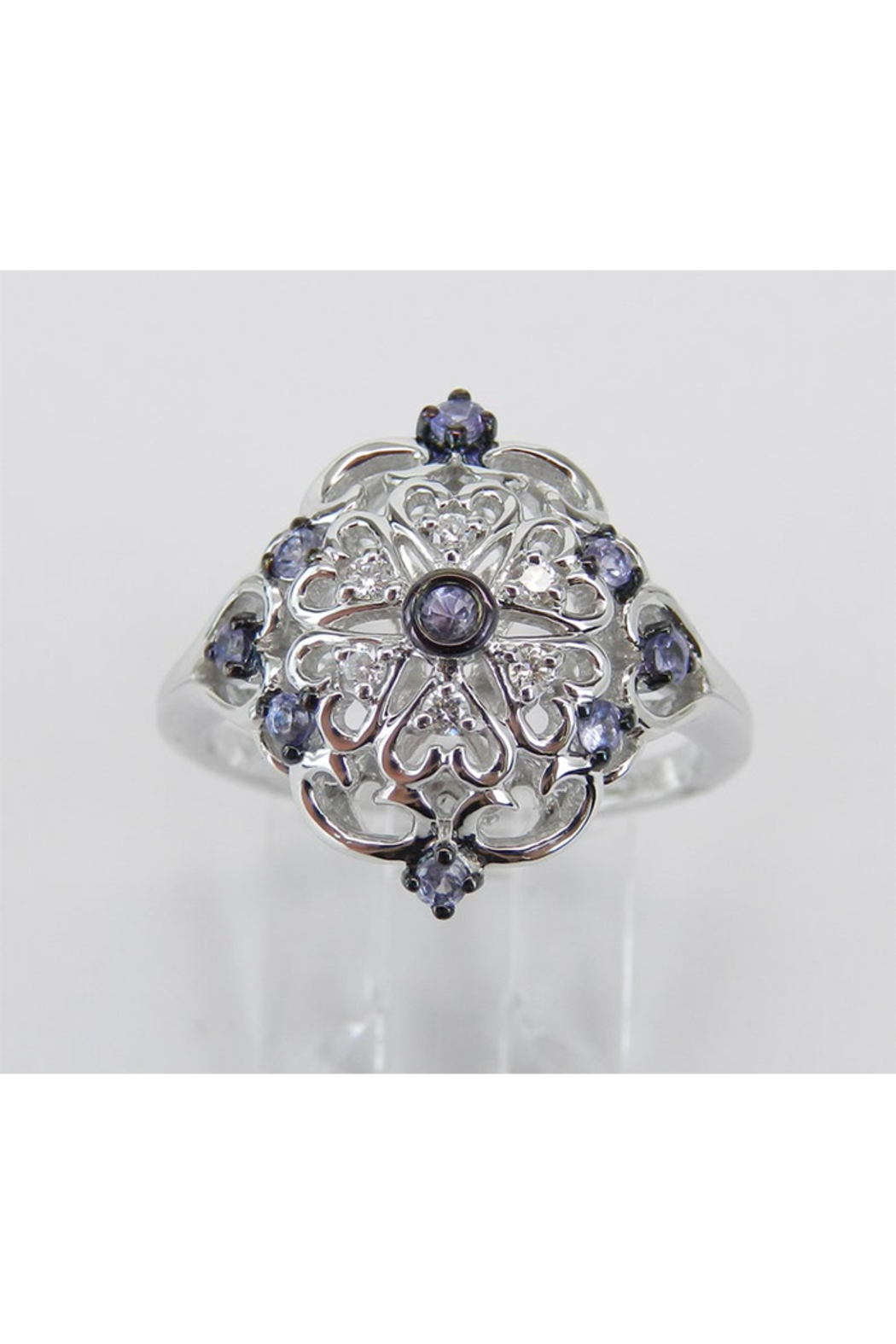 Margolin & Co Vintage Reproduction Style White Gold Diamond and Tanzanite Cocktail Cluster Ring Size 6.75 FREE Sizing - Main Image