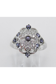 Margolin & Co Vintage Reproduction Style White Gold Diamond and Tanzanite Cocktail Cluster Ring Size 6.75 FREE Sizing - Product Mini Image