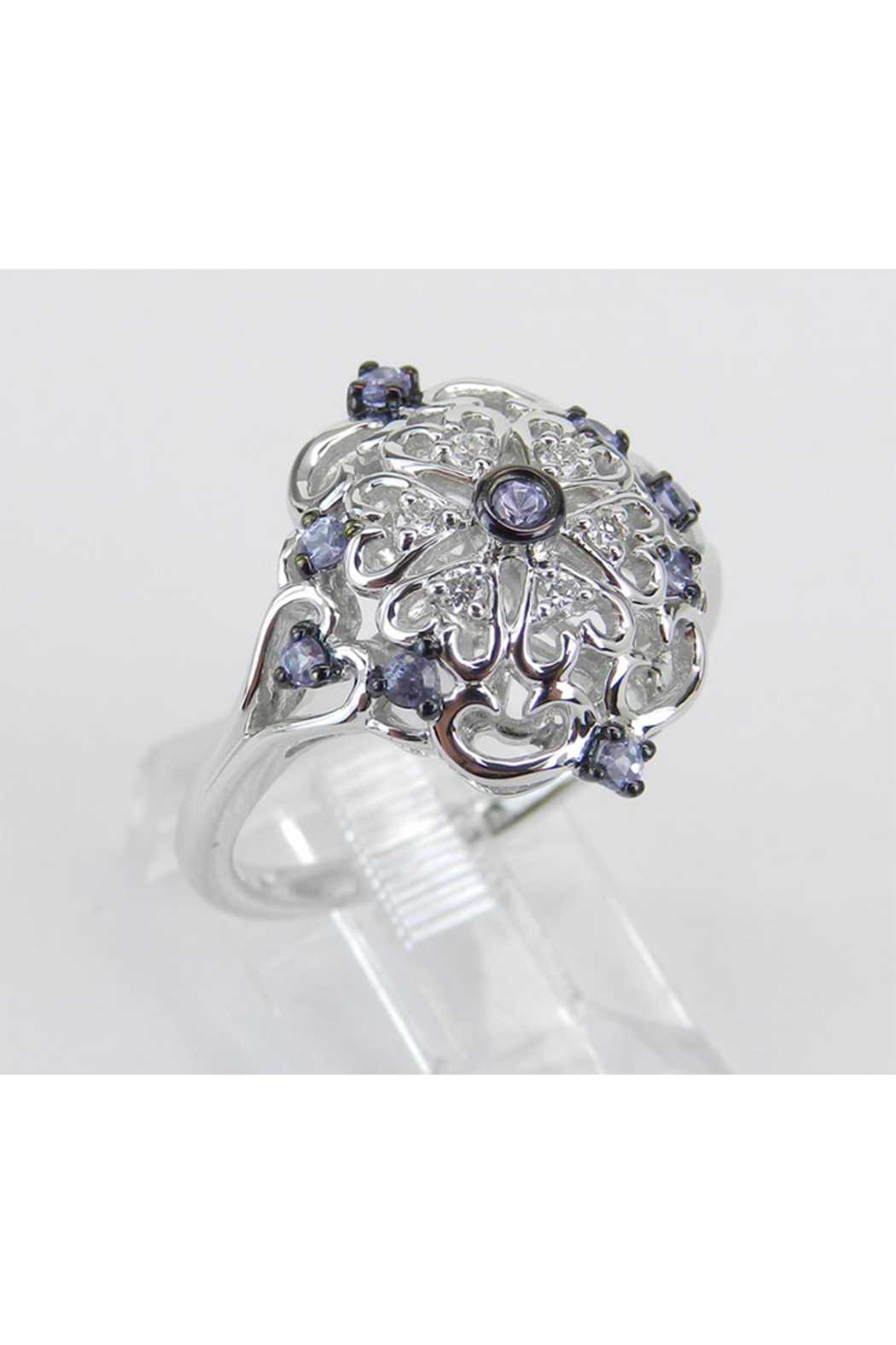 Margolin & Co Vintage Reproduction Style White Gold Diamond and Tanzanite Cocktail Cluster Ring Size 6.75 FREE Sizing - Front Full Image