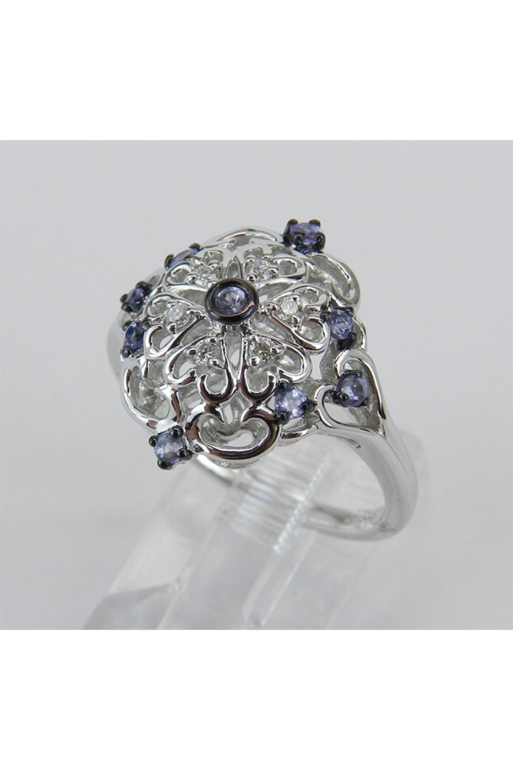 Margolin & Co Vintage Reproduction Style White Gold Diamond and Tanzanite Cocktail Cluster Ring Size 6.75 FREE Sizing - Side Cropped Image