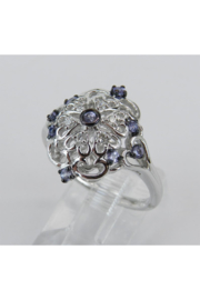 Margolin & Co Vintage Reproduction Style White Gold Diamond and Tanzanite Cocktail Cluster Ring Size 6.75 FREE Sizing - Side cropped