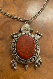 tesoro  Vintage Silvertone Agate Turtle Necklace - Front full body
