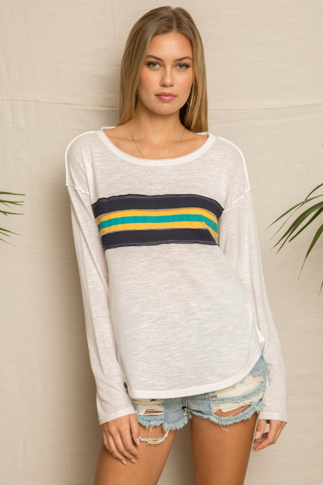 Hem and Thread Vintage Stripe Boxy Knit Top - Front Cropped Image
