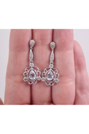 Margolin & Co Vintage Style 14K White Gold Aquamarine and Diamond Dangle Drop Earrings Aqua March Gemstone - Front cropped