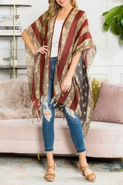 Riah Fashion Vintage-Tassel American-Flag-Kimono - Product Mini Image