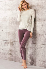 Charlie Paige Vintage-Wash Motto Leggings - Front full body