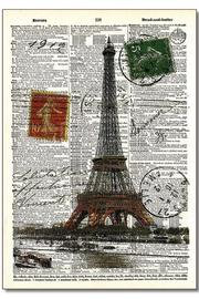 Vintage Dictionary Art Dictionary Art Eiffeltower - Front cropped