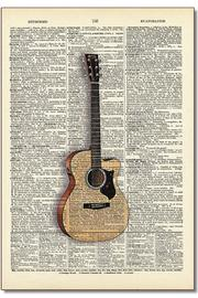 Vintage Dictionary Art Dictionary Art Guitar - Product Mini Image