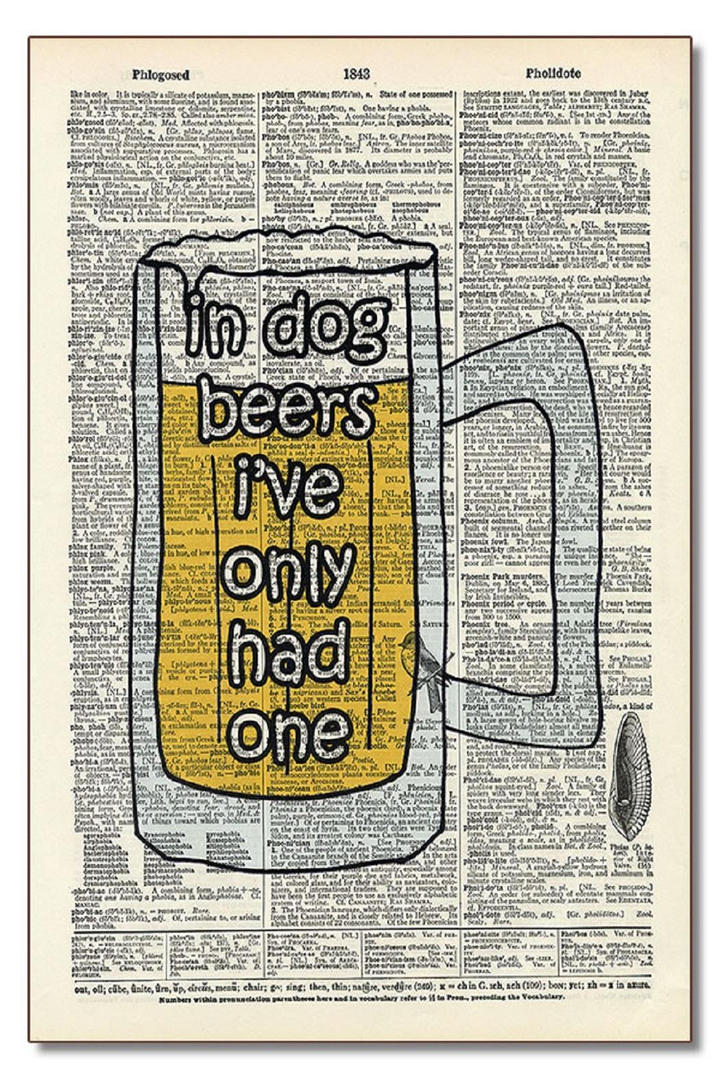 Vintage Dictionary Art Dog Beers - Main Image