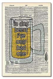 Vintage Dictionary Art Dog Beers - Front cropped