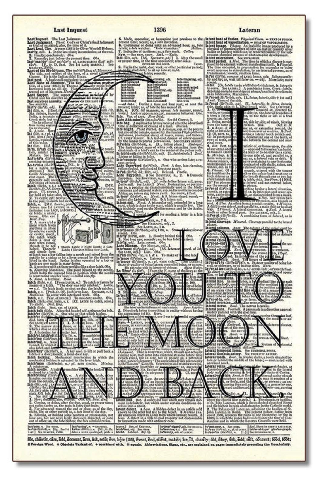 Vintage Dictionary Art Moon And Back - Main Image