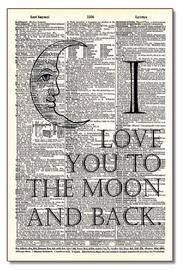 Vintage Dictionary Art Moon And Back - Front cropped