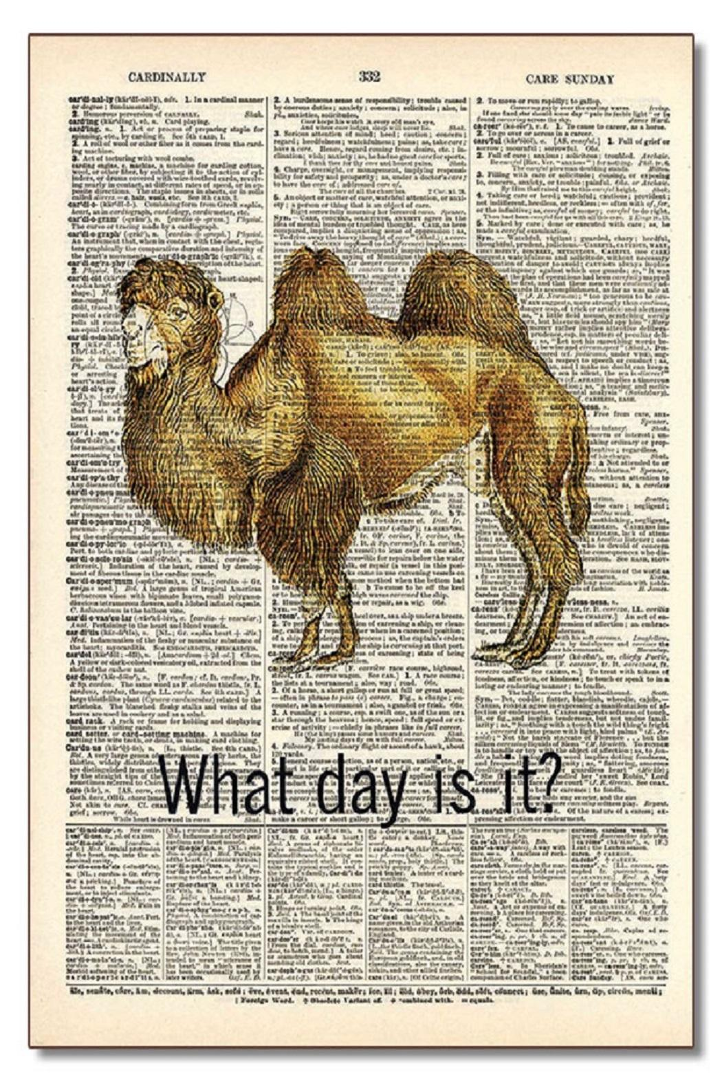 Vintage Dictionary Art What Day Art - Main Image