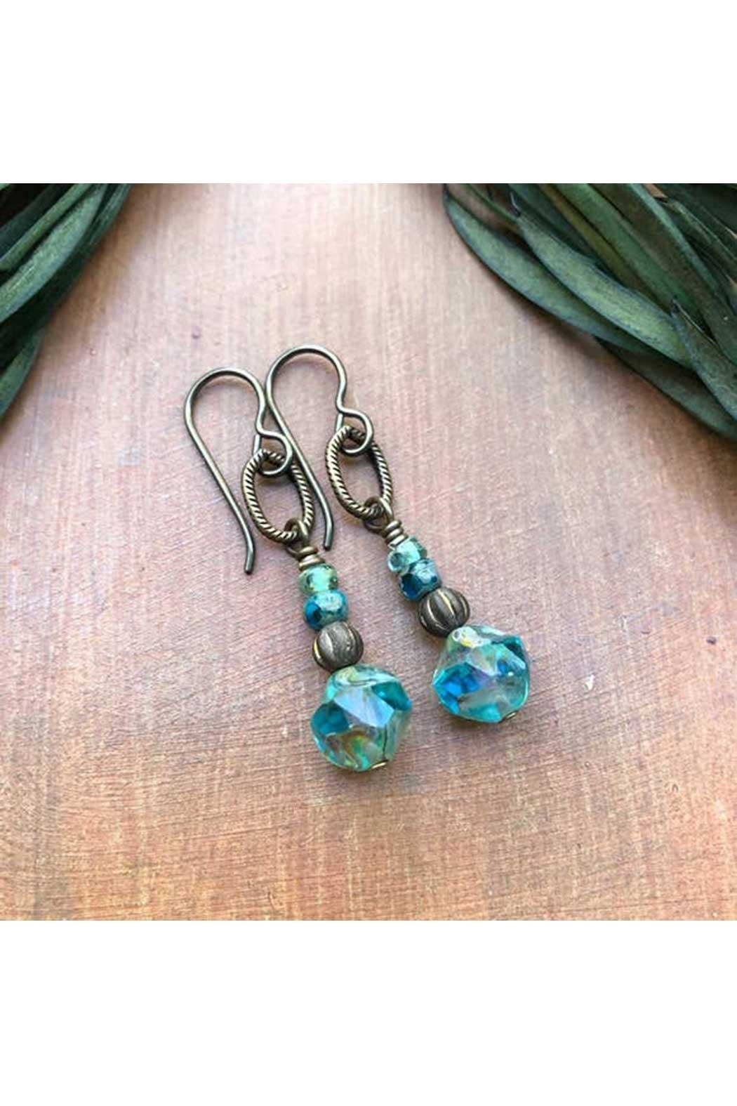 Vintage Earth Rustic Aqua Earrings - Front Cropped Image