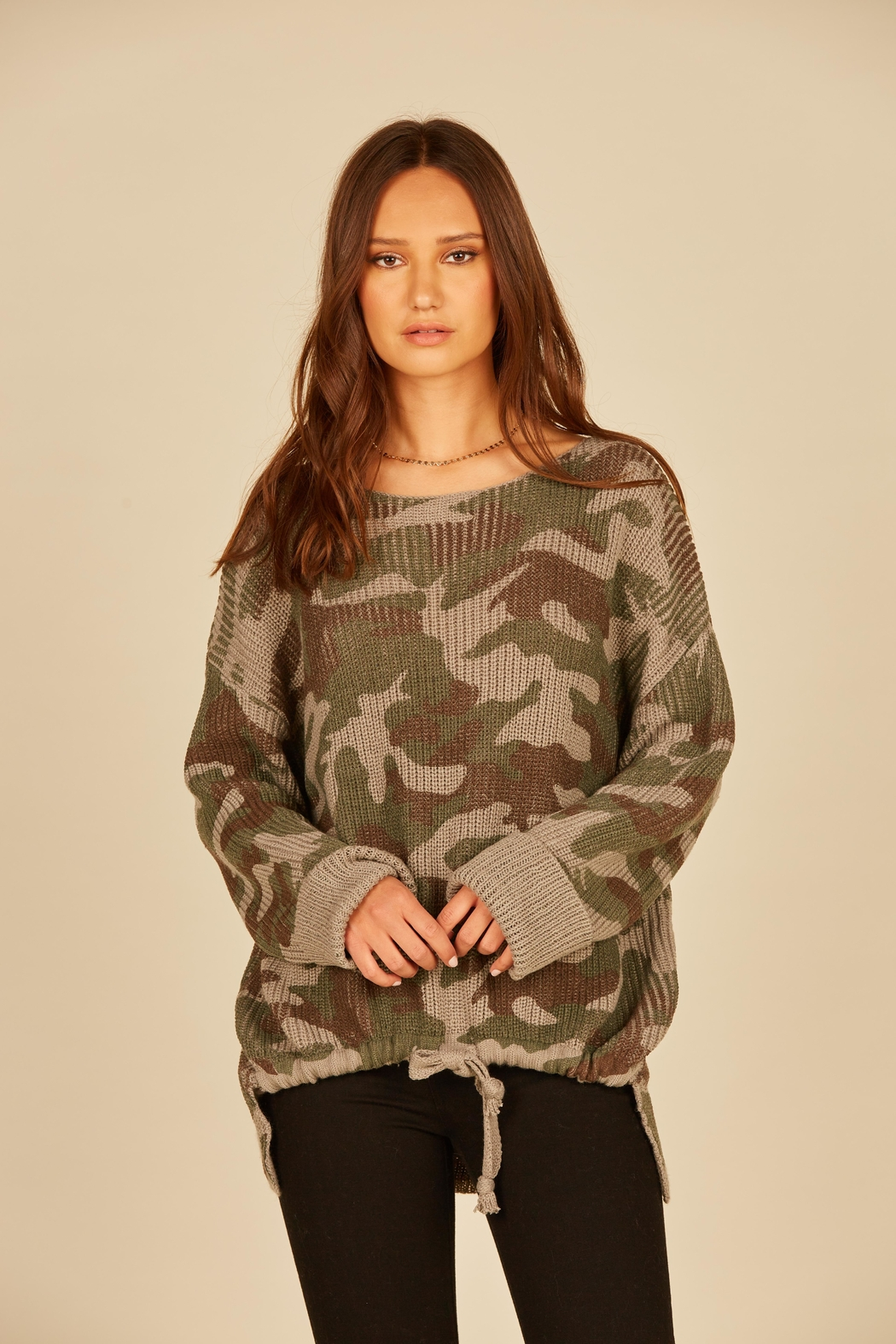 Vintage Havana Camo High Low Tie Sweater - Front Cropped Image