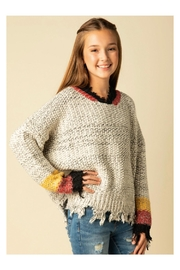 Vintage Havana Chunky Frayed Sweater - Front cropped