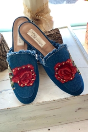 Vintage Havana Denim Embroidered Slides - Product Mini Image