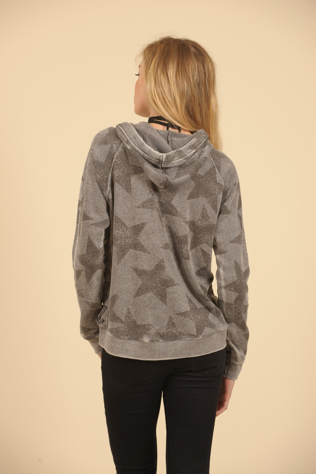 Vintage Havana Star Lace Up Hoodie - Front Full Image