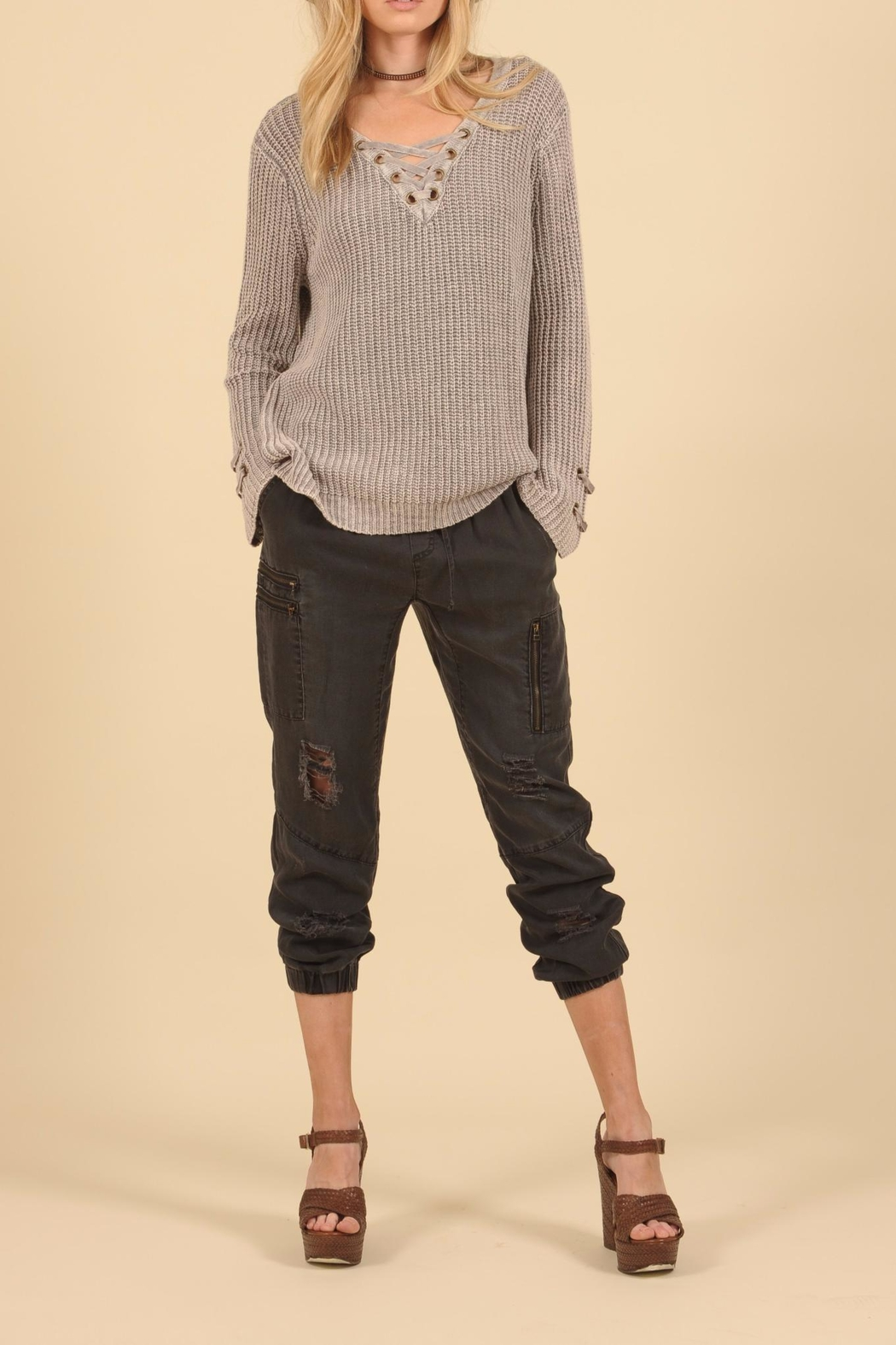 Vintage Havana Lace Up Cotton Sweater - Front Full Image
