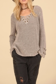 Vintage Havana Lace Up Cotton Sweater - Front cropped