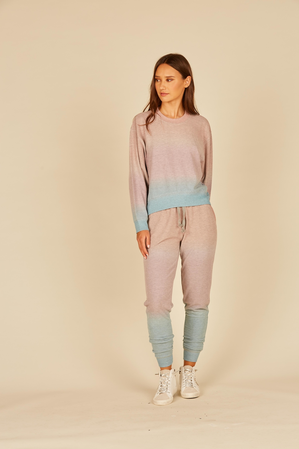 Vintage Havana Ombre Hacci Jogger - Front Cropped Image