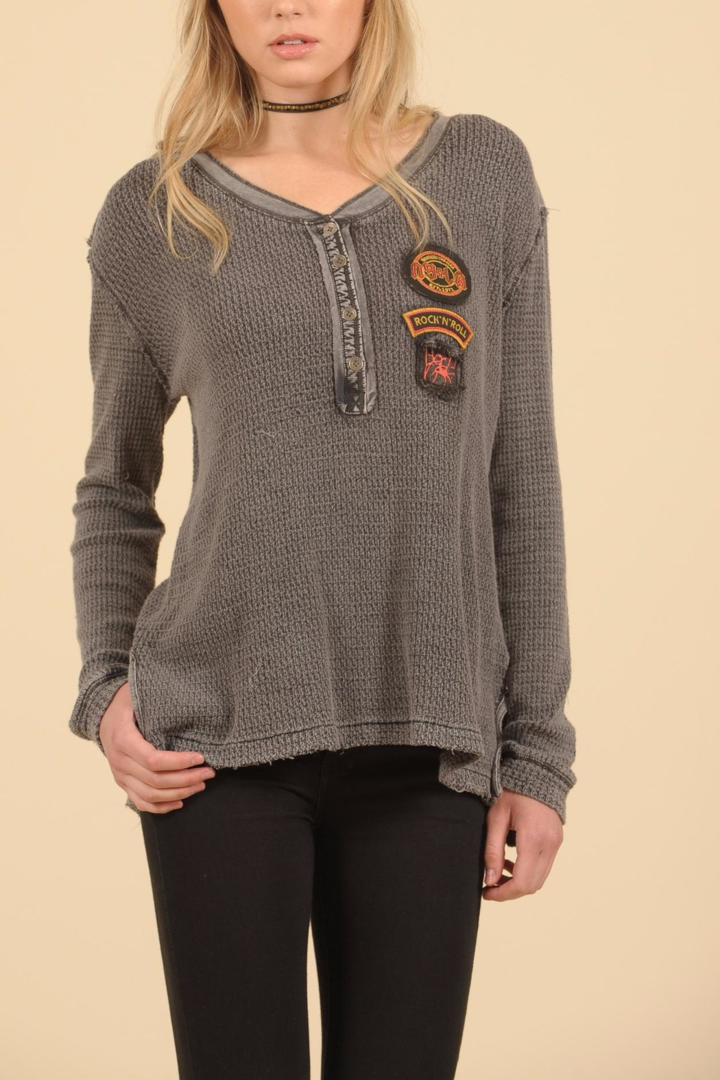 Vintage Havana Patch Henley Top - Main Image