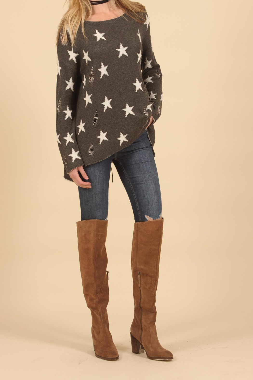 Vintage Havana Star Ripped Sweater - Front Full Image