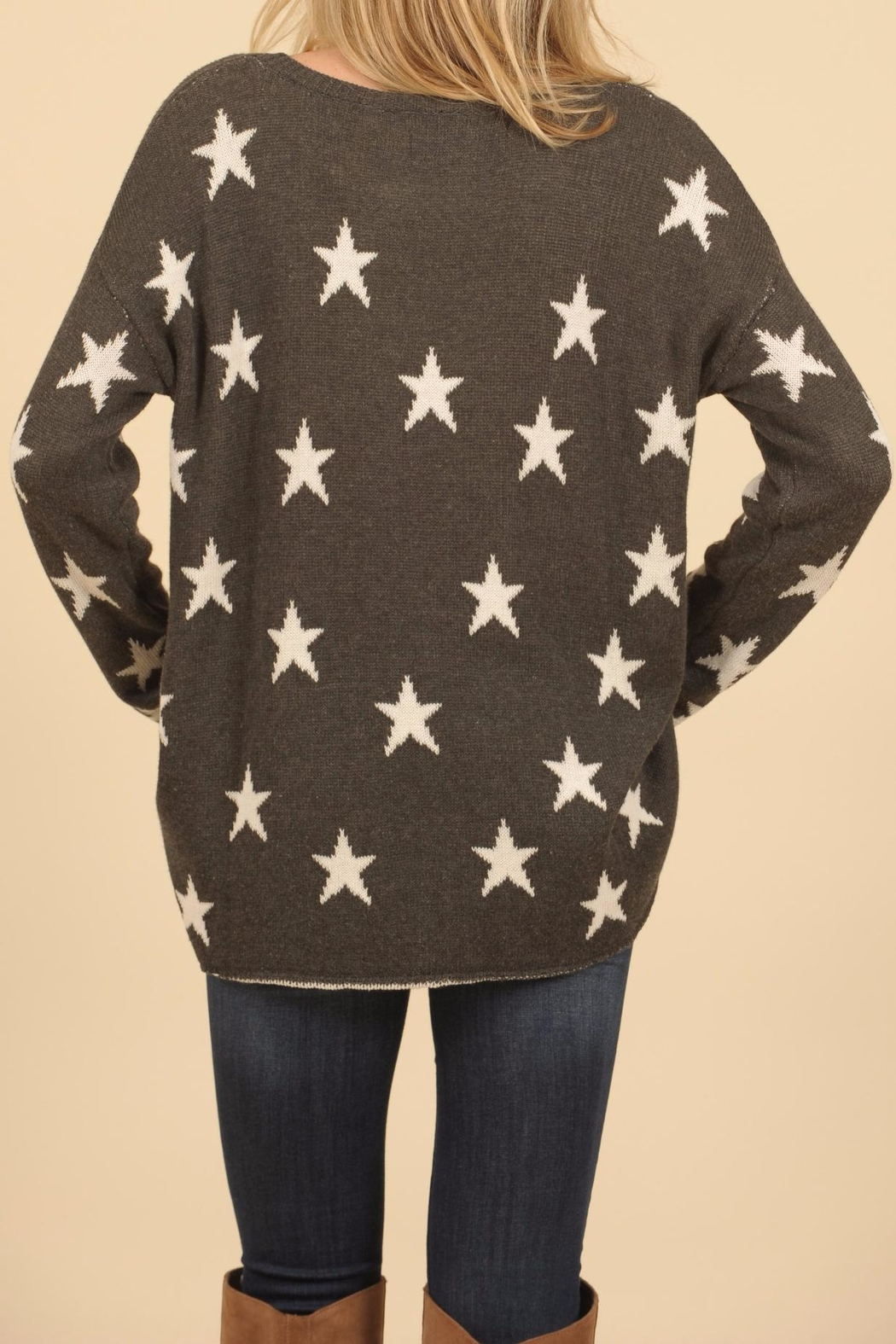 Vintage Havana Star Ripped Sweater - Side Cropped Image