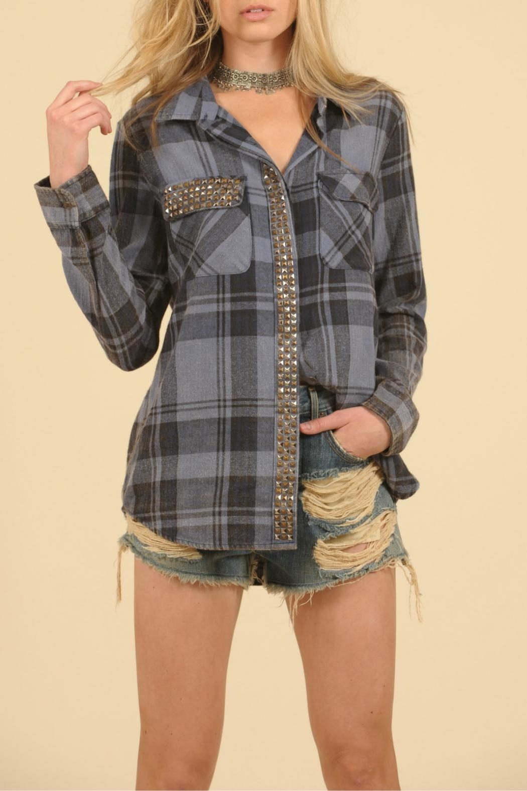 Vintage Havana Studded Flannel Top - Main Image