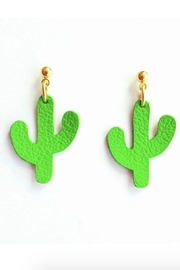 Vinuesa Made Leather Cactus Earrings - Product Mini Image