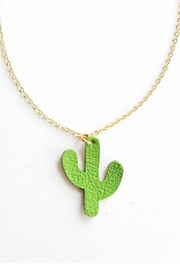 Vinuesa Made Leather Cactus Necklace - Front cropped