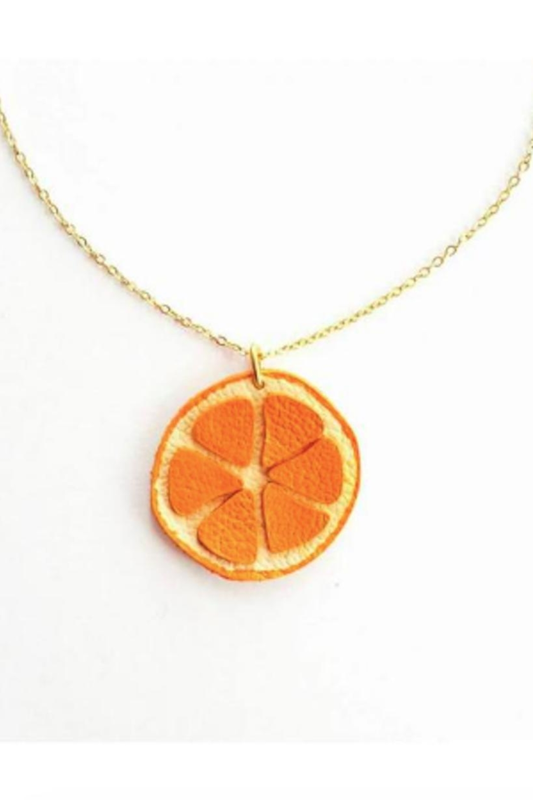 Vinuesa Made Leather Orange Necklace - Front Cropped Image