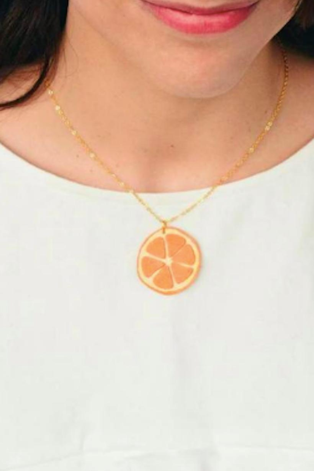 Vinuesa Made Leather Orange Necklace - Front Full Image