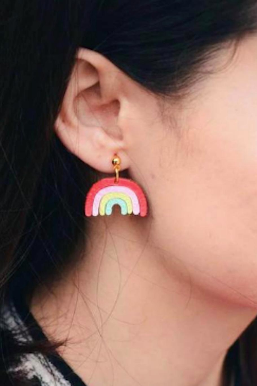 Vinuesa Made Leather Rainbow Earrings - Front Cropped Image