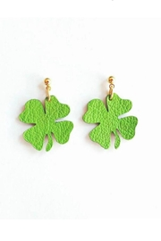 Vinuesa Made Leather Shamrock Earrings - Product Mini Image