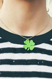 Vinuesa Made Leather Shamrock Necklace - Front full body