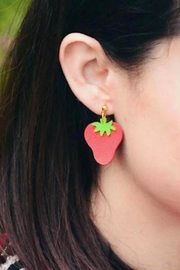 Vinuesa Made Leather Strawberry Earrings - Front full body