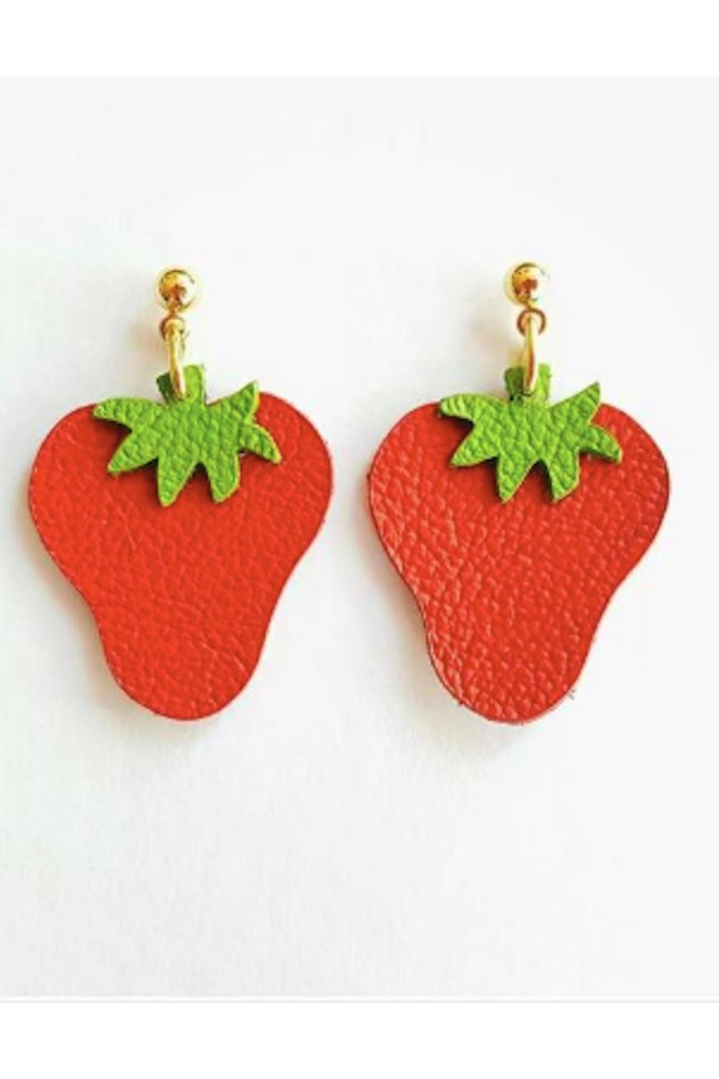 Vinuesa Made Leather Strawberry Earrings - Main Image