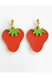 Vinuesa Made Leather Strawberry Earrings - Product Mini Image