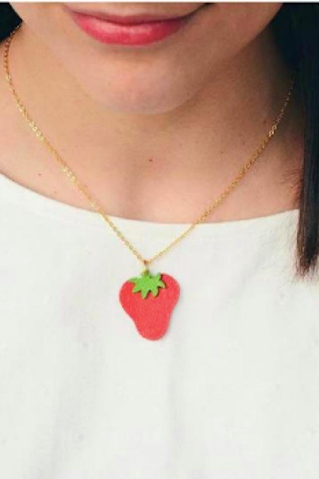 Vinuesa Made Leather Strawberry Necklace - Front Full Image